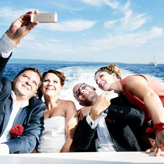 happy couple boat trip wedding
