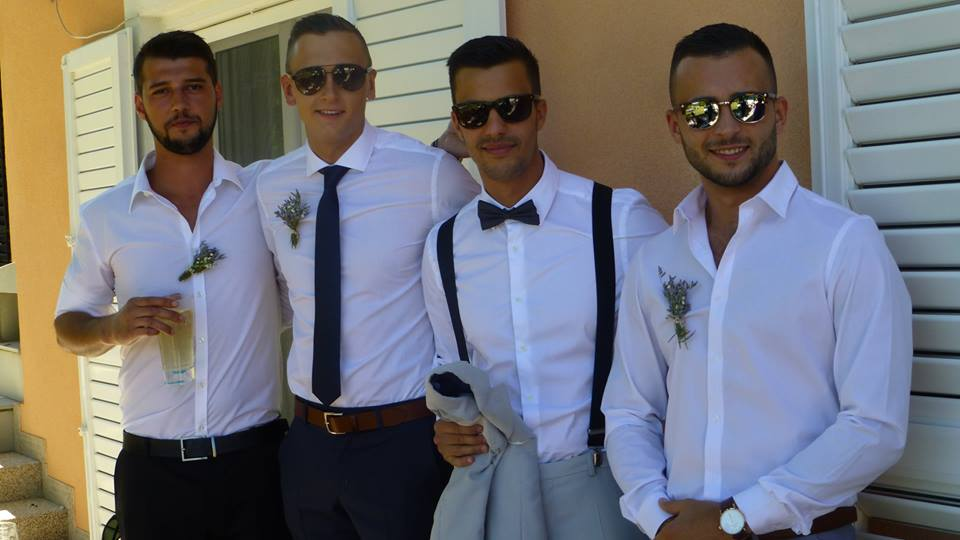 Momci at the wedding Croatian for guys